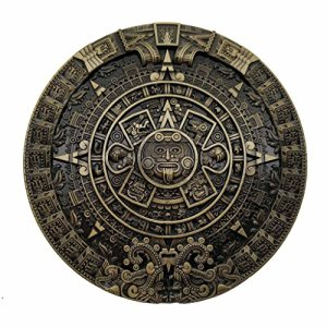 YONE Fibbia per Cinture Mayan Aztec Calendar Belt Buckle Marrone