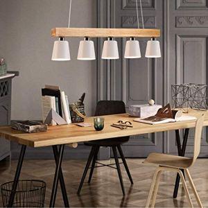 ZMH Lampada a sospensione vintage in legno e metallo adatto per lampadine LED E27 selezionabile Lampadario a Sospensione per soggiorno sala da pranzo ristorante tavernabianco