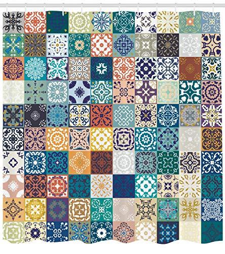 ABAKUHAUS Marocchino Tenda da Doccia Motivo Patchwork con Differenti Colori Figura Arabica Originale Tunisino Idrorepellente Resiliente Opaco 175 x 200 cm Multicolore
