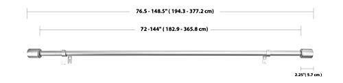 AmazonBasics  Bastone da tenda con terminali cilindrici da 182 fino a 365 cm Nichel