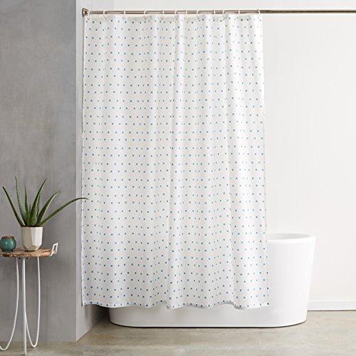 AmazonBasics  Tenda da doccia in tessuto con motivo stampato ad quadretti 180 x 200 cm colore blu