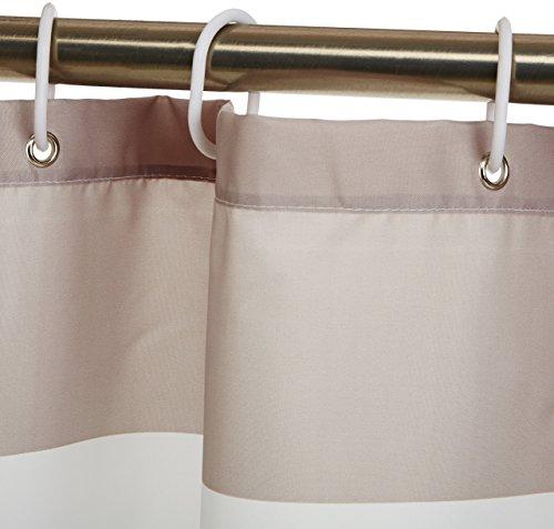 AmazonBasics  Tenda da doccia in tessuto con motivo stampato a righe 180 x 200 cm colore grigio