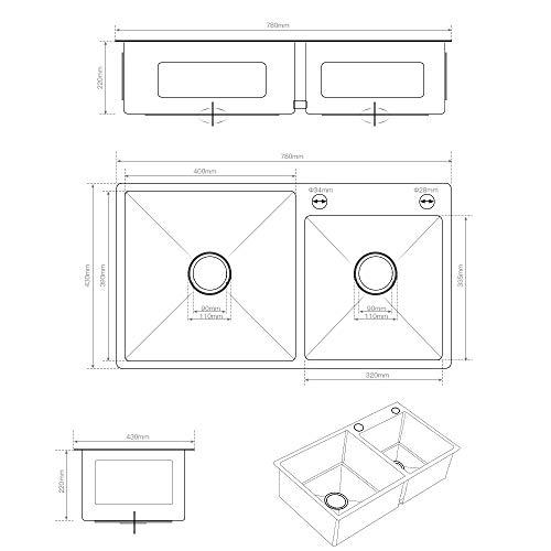 Auralum Lavello da Cucina in Acciaio Inox Spazzolato Vasca Doppio 78 x 43 x 22 cm