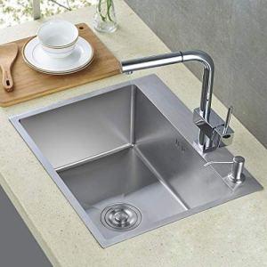 Auralum Lavello da cucina incasso in acciaio inox seta lucida con 1 vasca e gocciolatoio seta 55  45cm