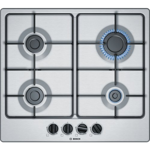 Bosch Serie 4 PGP6B5B80 Builtin Gas BlackStainless steel hob  hobs Builtin Gas Stainless steel Black Stainless steel 1000 W 1750 W