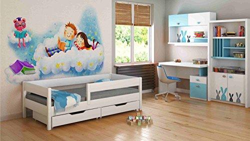 Childrens Beds Home Letti Singoli per Bambini Bambini Bambino Senza Cassetti Senza Materasso Incluso 180x80 Bianco