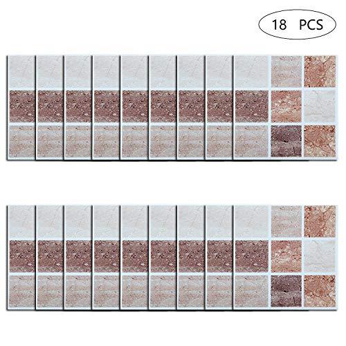 Comius Sharp 18 Pezzi Adesivi per Piastrelle di Mosaico Adesivo per Piastrelle Design Mosaico 3D Adesivo Sticker Cucina Bagno Piastrelle Decor Piastrelle Autoadesivo Brown