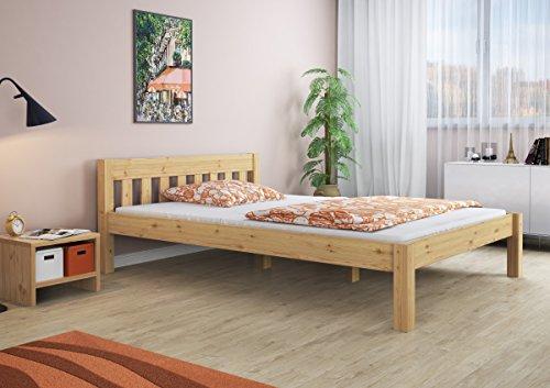 ErstHolz Letto Matrimoniale Largo 160x200 in Pino massello Laccato con doghe rigide 603816