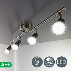 Faretti LED da soffitto orientabili I plafoniera moderna da soffitto per lilluminazione da interno I luce calda I corpo metallo color nickel opaco I include 4 lampadine da 3W GU10 230V IP20