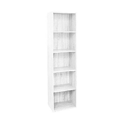 Gardenia Pronto Libreria in Legno per Soggiorno Cameretta a 5 Ripiani 40 x 29 x h172 Cm Bianco Frassinato H 172 cm