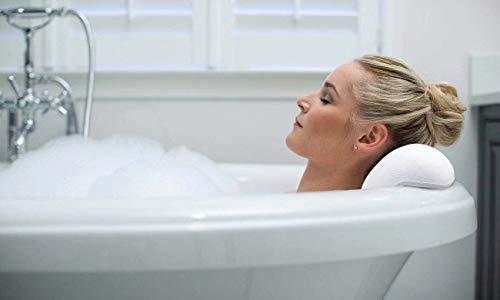 Gdaya Cuscino Vasca da Bagno Luxury Spa Cuscino Extra Morbido ed Ergonomico con 2 Ventose Potenti AntiscivoloSpessoreImpermeabile Bath Pillow  Include 10 Pad Antiscivolo per il Bagno