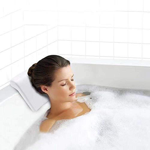 Gdaya Cuscino Vasca da Bagno SpaCuscino Super Morbido ed Ergonomico con 2 Ventose Potenti AntiscivoloLargo 30 x 16 x 5 cmSpessoreImpermeabile Bath PillowInclude 10 Pad Antiscivolo per il Bagno
