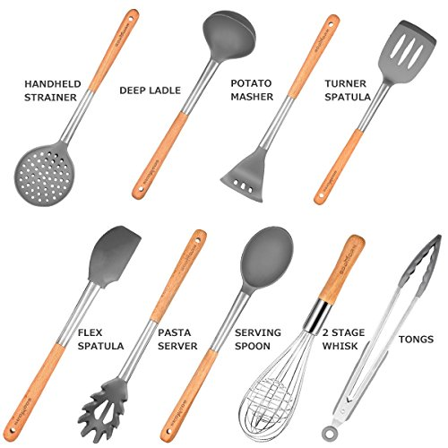 Godmorn Set Di Utensili Da Cucina 9 Pezzi Utensili Da Cucina In Silicone Antiaderente Per Cucinare Silicone E Acciaio Inox E Manico In Legno Kit Per Pentole E Padelle Arredamento E Casa