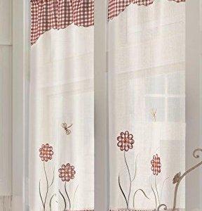 Home Collection TCMAN111150 Tendina Coppia Margherita Poliestere Bordeaux 60x150 cm 2 Unit