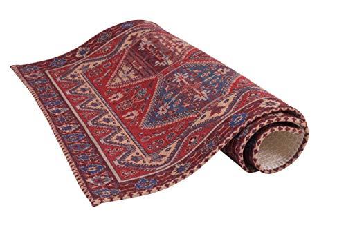 HomeLife Tappeto Stile PersianoOrientale 60x110CM  Tappetino in Cotone per SalottoCamera da LettoSoggiorno con Fondo Antiscivolo  Scendiletto Stampa Digitale di Inspirazione Orientale Rosso