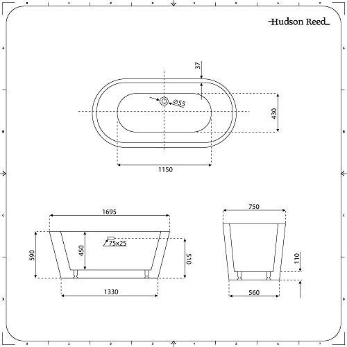 Hudson Reed Witton Vasca da Bagno Freestanding  Acrilico Grigio Pietra  Design Centro Stanza Ovale  1695 x 750 x 590mm