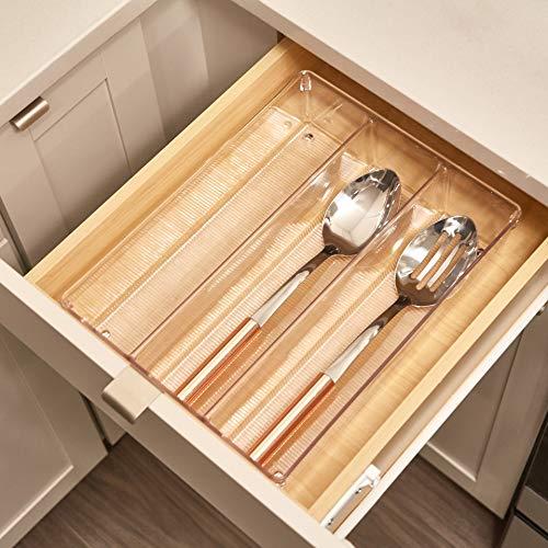 iDesign Portaposate cassetto Grande organizer cassetti in plastica con 3 scomparti Separatori cassetti ideali per posate e altri utensili da cucina lunghi trasparente