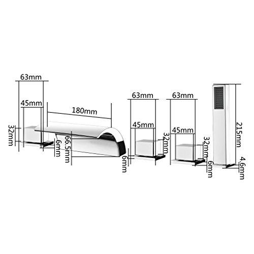 KINSE Sistema Di Doccia Vasca da Bagno Rubinetto Vasca da Bagno Contemporanea 5 Foro di Set Vasca Rubinetto Cascata Doccetta per Bagno