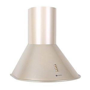 Klarstein Lumio Retro Cappa Aspirante da cucina in acciaio inox 60 cm potenza di aspirazione pari a 430 mh 3 livelli di potenza illuminazione con due faretti alogeni  color champagne