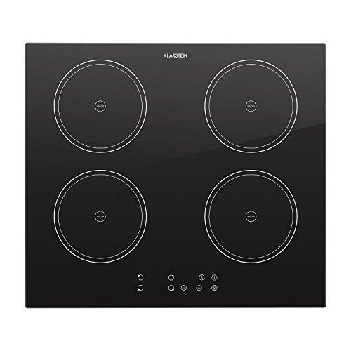 Klarstein Virtuosa piano di cottura a induzione 7000 Watt 4 piastre per pentole di 18 cm di diametro timer spegnimento automatico display digitale  nero