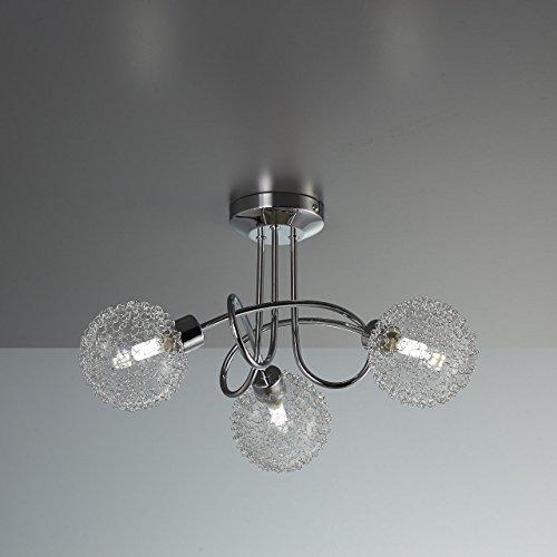 Lampada da soffitto a LED per soggiorno o salotto con 3 faretti I plafoniera moderna fantasia a braccia intrecciate con motivo a filo di ferro I include 3 lampadine da 35W I 230V I G9 I IP20