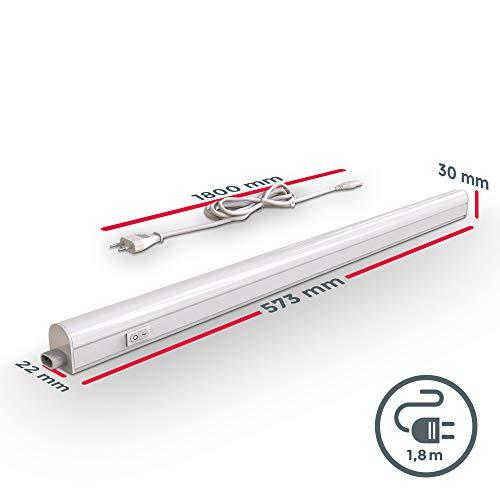 Lampada sottopensile cucina LED luce bianca naturale 4000K LED integrati da 8W lunghezza 573cm interruttore on off plastica lampada moderna collegabile con lampade uguali 230V IP20