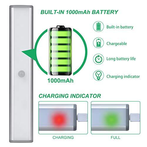 Led Armadio Sensore Movimento Luce Wireless Luci Notturne Barra Lampada Guardaroba Usb Batteria Ricaricabile Luce Emergenza Striscia Magnetica Adesiva Luce per Armadio Scale Corridoio Cucina 2PCS
