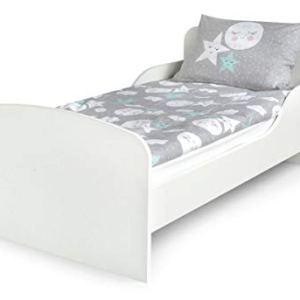 Letto Lettino Per Bambini In Legno e Materasso Magnifiche Stampe Dimensioni 140x70 Colore Bianco Stile Scandinavo