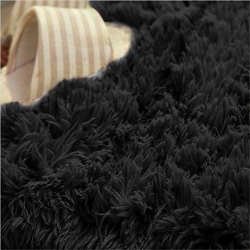 LIYINGKEJI Super Soft Modern Shag Area Rugs 80X120 CM Soggiorno Camera da Letto Sittingroom Tappeto Antiscivolo Tappeto Tappeto per Bambini Play Home Decorate Nero