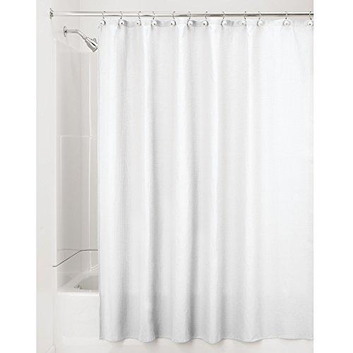mDesign lussuosa tenda doccia in tessuto misto cotone  misure 180 x 180 cm  colore bianco  tende doccia tessuto  tende da bagno