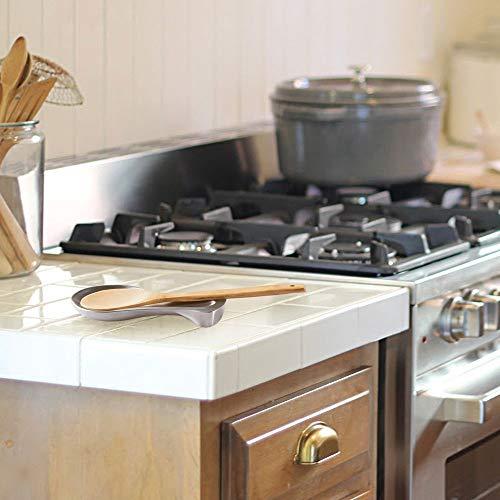mDesign Set da 2 Porta cucchiaio da cucina  Robusto e resistente  Appoggia cucchiaio in acciaio spazzolato  Portamestolo utile anche per coltello forchetta e altri utensili  argento opaco