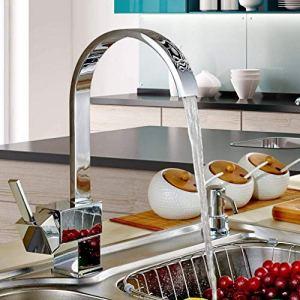 Miscelatore Cucina Auralum Rubinetto per Lavello da Cucina Canna Alta 360 di Rotazione Monocomando Ottone Cromo Miscelatori Acqua Fredda e Calda