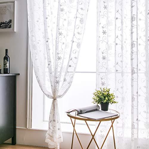 MIULEE Voile Tenda Finestra con Occhielli Tenda a Pannello Tende a Vela Trasparente per Soggiorno e Camera da Letto 2 Pezzo Set 140X175 cm Flower