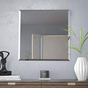 MXhome Specchio da Parete Senza Cornice Rettangolare con Bordi smussati Argento Vetro Vanit Bagno Specchio da Parete Piazza60 x 60 cm