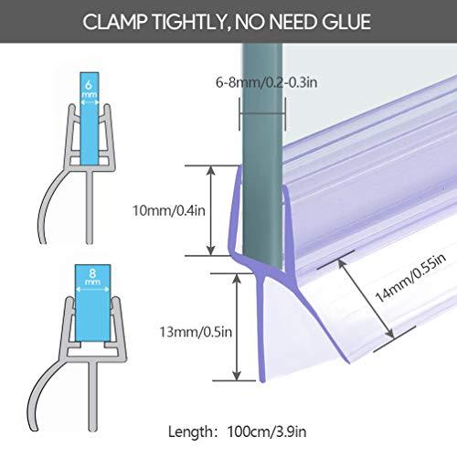 Oladwolf guarnizione doccia sottoporta 2PCS 6mm  7mm  8mm guarnizioni box doccia 100cm addensato guarnizione box doccia Non  richiesta la colla