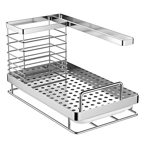 Oriware Lavandino Caddy Organizer Porta Utensili da Cucina della Lavello Acciaio Inox  25 x 15 x 15 cm