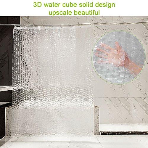 Tenda da doccia antimuffa RIXANA per doccia e vasca da bagno ecologica 0,2 mm 180 x 200 cm con 12 anelli per tenda da doccia impermeabile 3D bianco