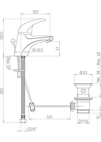 Paini  Mia 211 Rubinetto Miscelatore Bagno Monocomando con Scarico Automatico per Lavabo finiture Cromate e brillanti Design classico interamente prodotto e lavorato in Italia