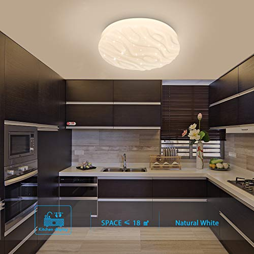 Plafoniera LED Rotonda Moderno Plafoniere LED impermeabile Bianco naturale 4000K 18W 1500lm LUSUNT