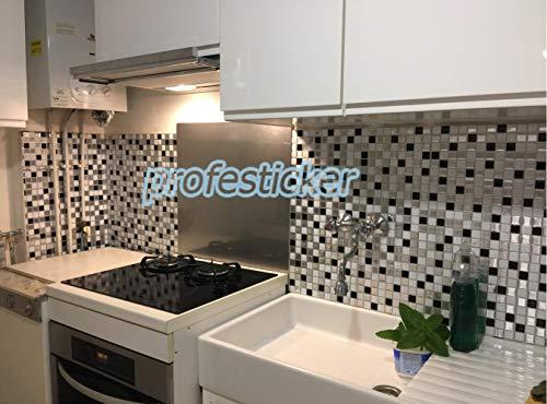 Profesticker Piastrelle Adesivi Muro 3D Mattonelle Sticker AutoAdesivo Decorativo Gel Rivestimento Parete Confine Impermeabile Cucina Bagno 12Pollici 6Fogli Mosaico NeroArgentoBianco