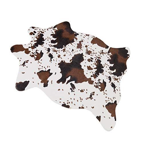 RCMeet Tappeto in Pelle di Pecora in Pelliccia Sintetica Tappeto Tappeto soffice in Pile della Sedia Sedile Pad Tappeto per Camera da Letto Divano Pavimento Cow 75x110cm