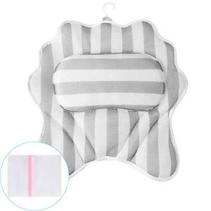 RenFox Cuscino Vasca da Bagno Poggiatesta per Vasca da Bagno Cuscino con Ventose Antiscivolo Home Spa 3D Impermeabile Bath Pillow per Il Collo Testa e Spalle Stella di Mare Bianco