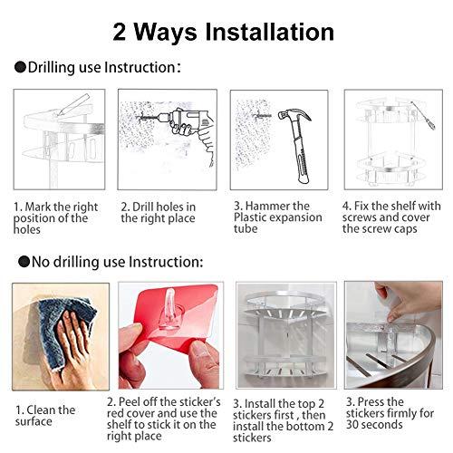 Ripiano angolare per bagno addensato senza trapano vano doccia in alluminio con montaggio a parete per doccia 2 livelli