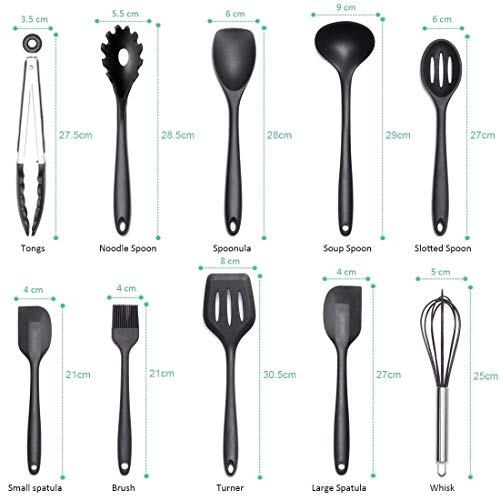 Set di utensili da cucina utensili da cucina in silicone Set da 10 pezzi Utensili antiaderenti non tossici resistenti al calore Set Utensili da cucina universali