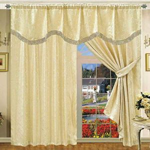 SSP Coppia di Tende plissettate Ready Made in Jacquard con mantovana e Cravatta di Tende Completamente Foderate Non  fissato con mantovana Colore Amazon Beige 1372x 1372cm