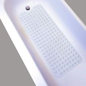 Tappetino antiscivolo da bagno o doccia extra lungo con ventose lavabile in lavatrice 100 x 40 cm Trasparente