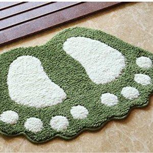 Tappetino per bagno in microfibra tappeto antiscivolo per il bagno motivo impronta design morbido tappetino per il bagno la cameretta verde 48 x 67 cm