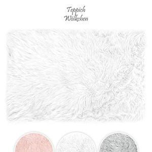 Teppich Wlkchen Tappeto in Finta Pelle di PecoraAgnello  Morbido e Peloso per Stanza da Letto o Soggiorno  Tappeto Soffice o Copertura per Divani e Sedie  Bianco  60 x 90 cm  Rettangolare