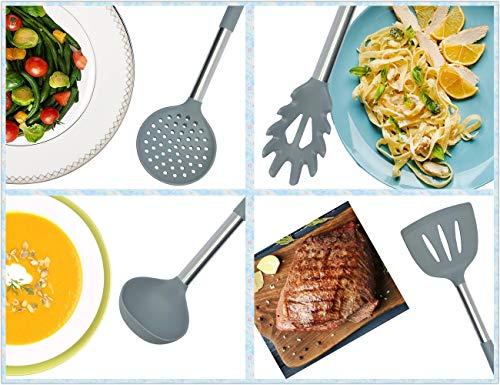 Utensile in Silicone da Cucina Set Nylon Nucleo Manico in Acciaio Inossidabile per Pentole Antiaderenti Cottura Utensili da Cucina Set di 10 Cucchiaio Grigio Spatola per Tornitore Frusta Spatola