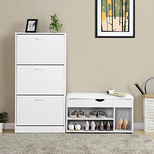VASAGLE Scarpiera a 3 Piani Scaffale Portascarpe Cassettiera con 3 Scomparti Profondi Color Bianco Regolabile 60 x 24 x 120 cm L x P x A LBC03WT